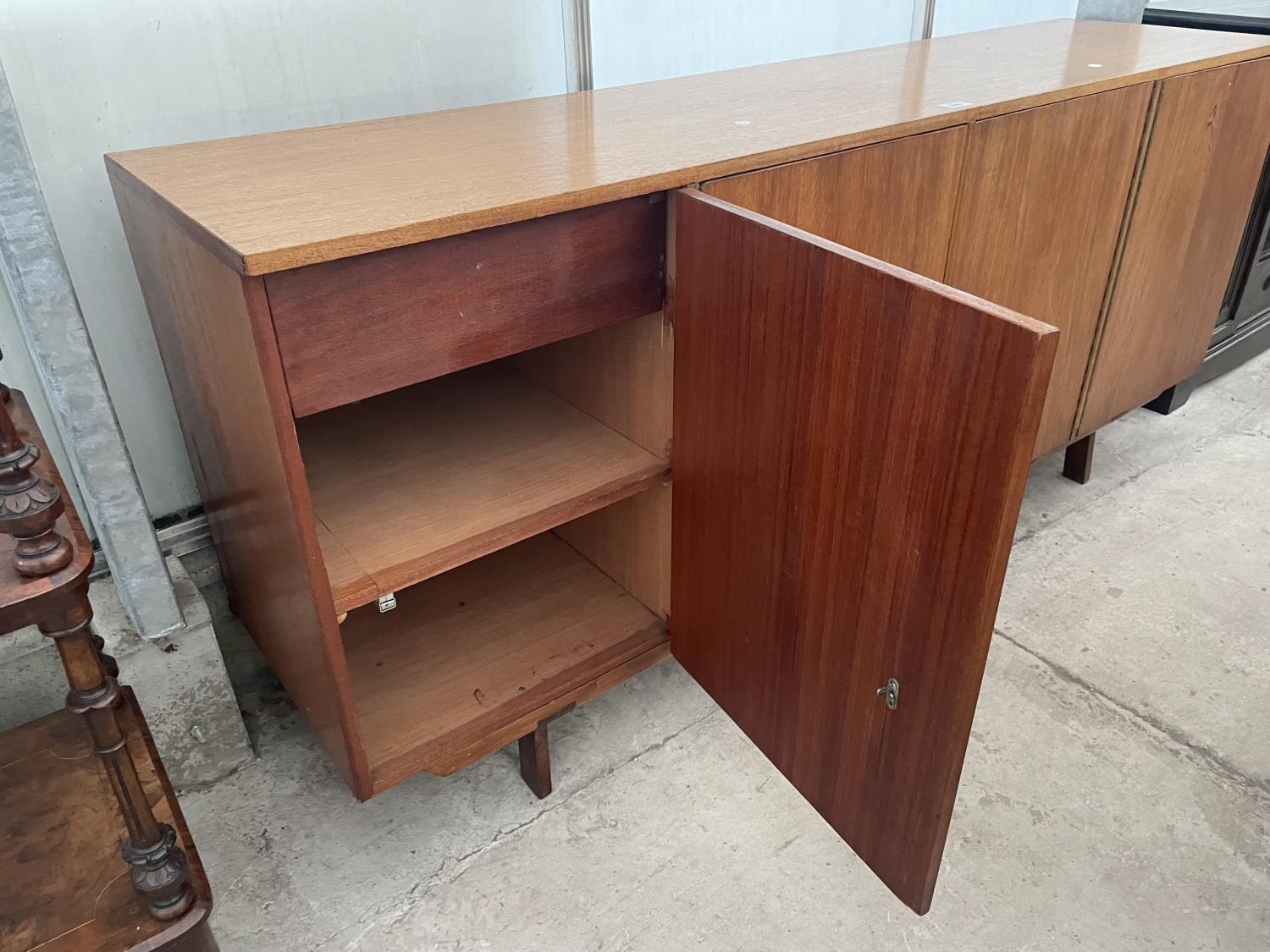 """A RETRO TEAK SIDEBOARD WITH FOUR PUSH RELEASE DOORS, 72"""" WIDE - Image 7 of 8"""