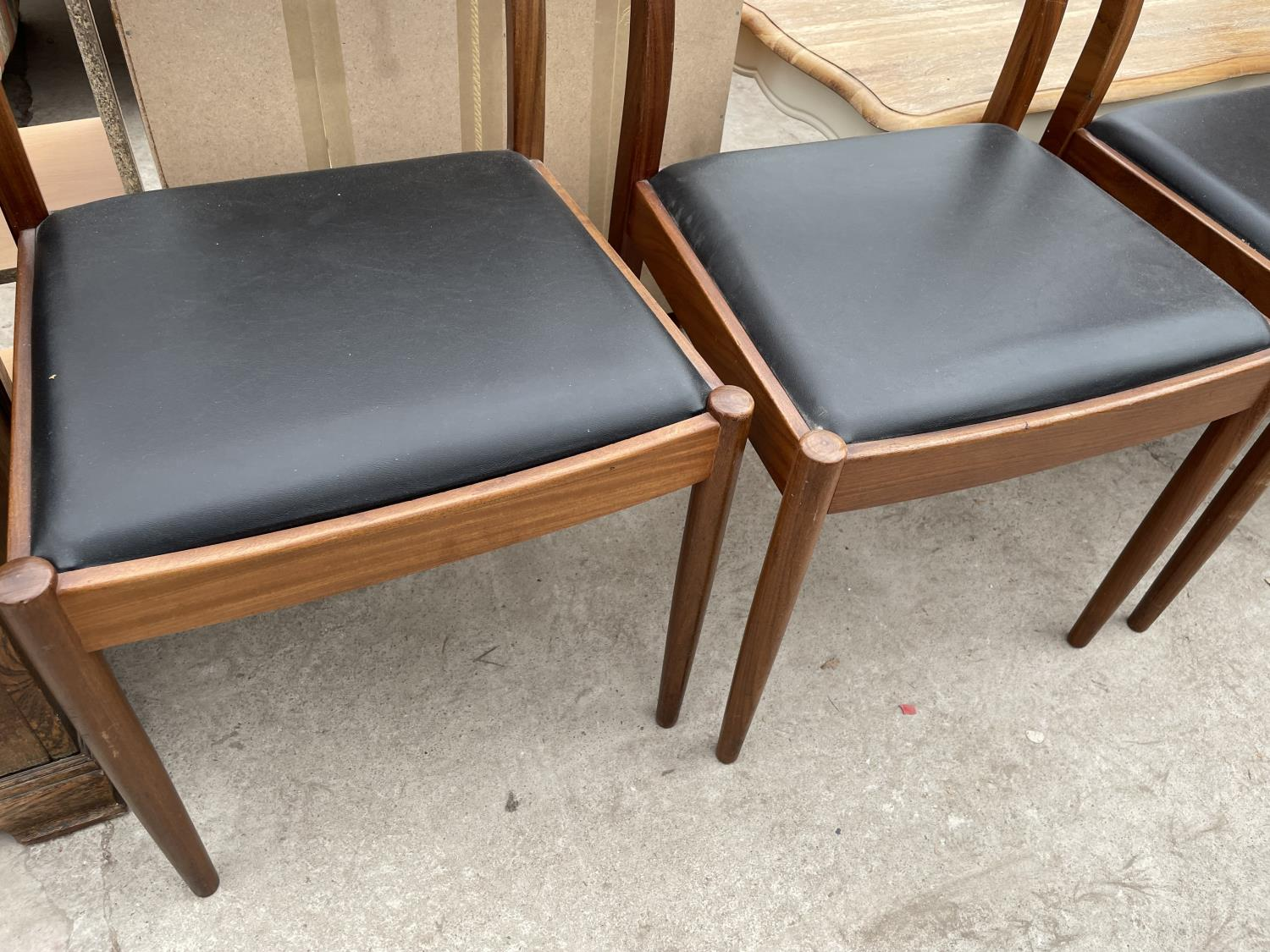A SET OF FOUR RETRO TEAK G-PLAN DINING CHAIRS - Image 3 of 6