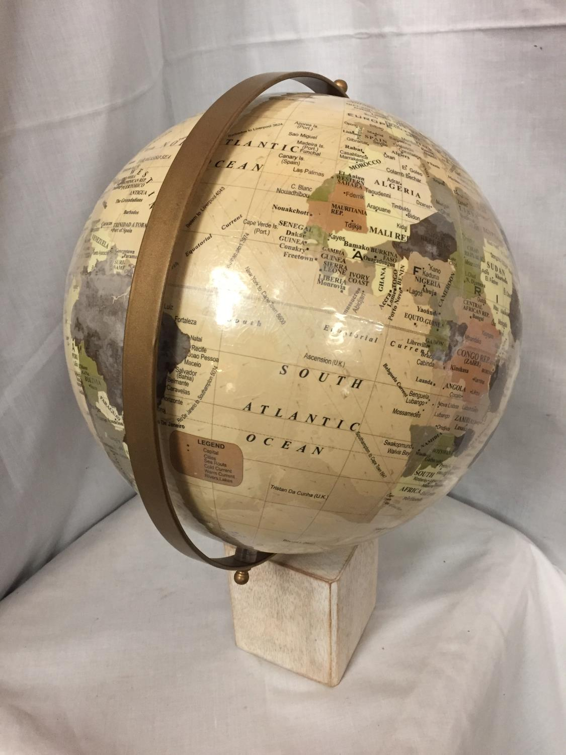 A LARGE GLOBE ON A WOODEN BASE - Image 3 of 3