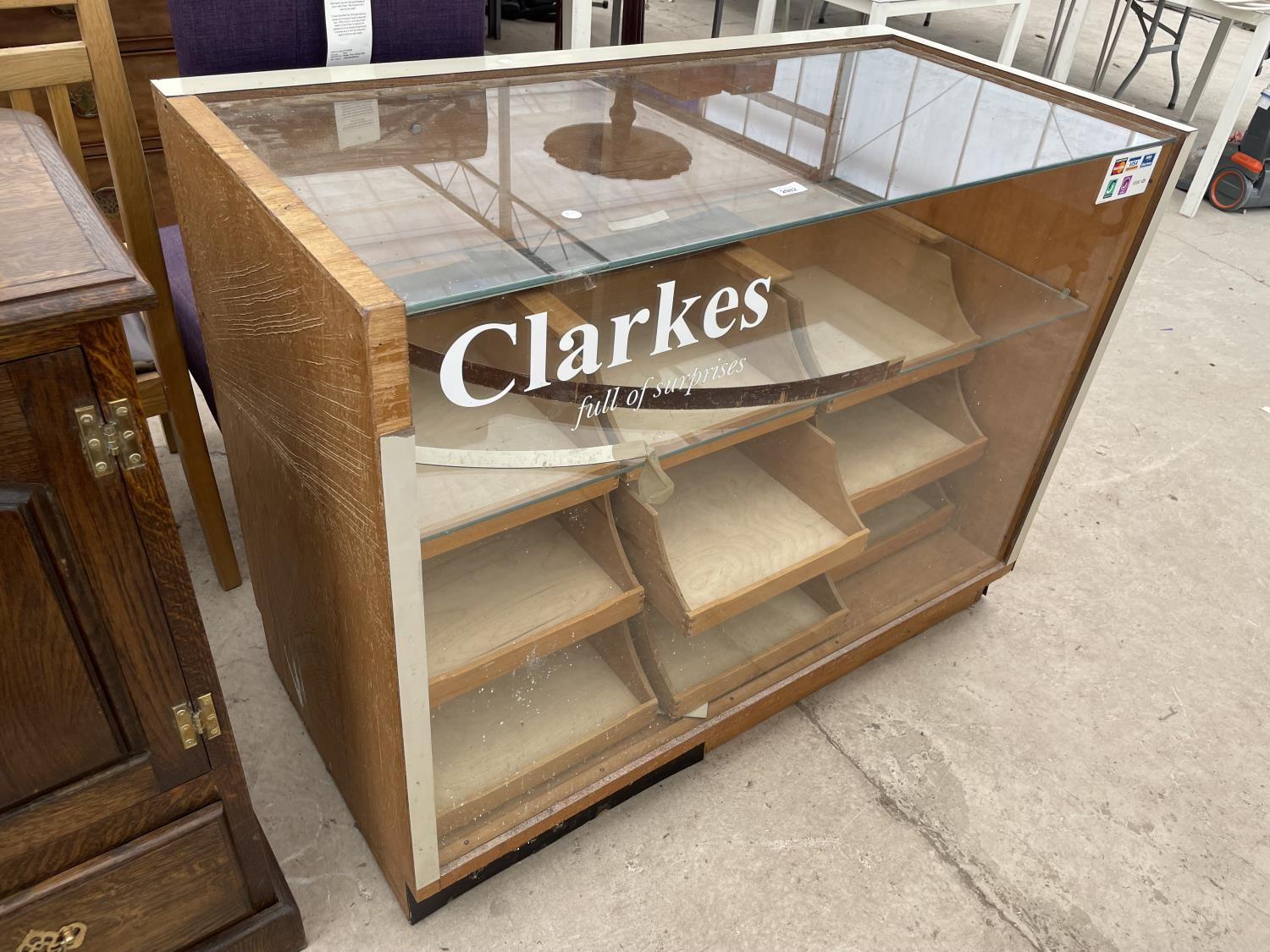"""A 1970'S HABERDASHERS CABINET WITH NINE DRAWERS AND TWO DROP-DOWN DOORS, 46.5"""" WIDE"""