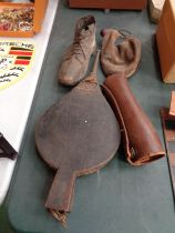 FOUR VINTAGE ITEMS TO INCLUDE BELLOWS, A BOOT, WATER BOTTLE AND CHAP