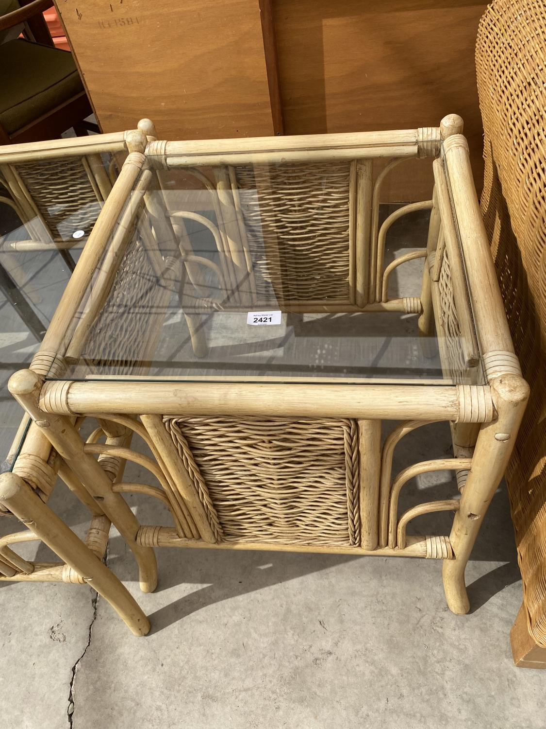 TWO BAMBOO AND WICKER COFFEE TABLES WITH GLASS TOPS - Image 2 of 3