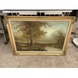 A GILT FRAMED PRINT ON CANVAS SIGNED IN THE BOTTOM RIGHT HAND CORNER