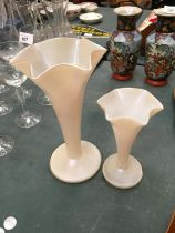 TWO PEARLISED GLASS VASES