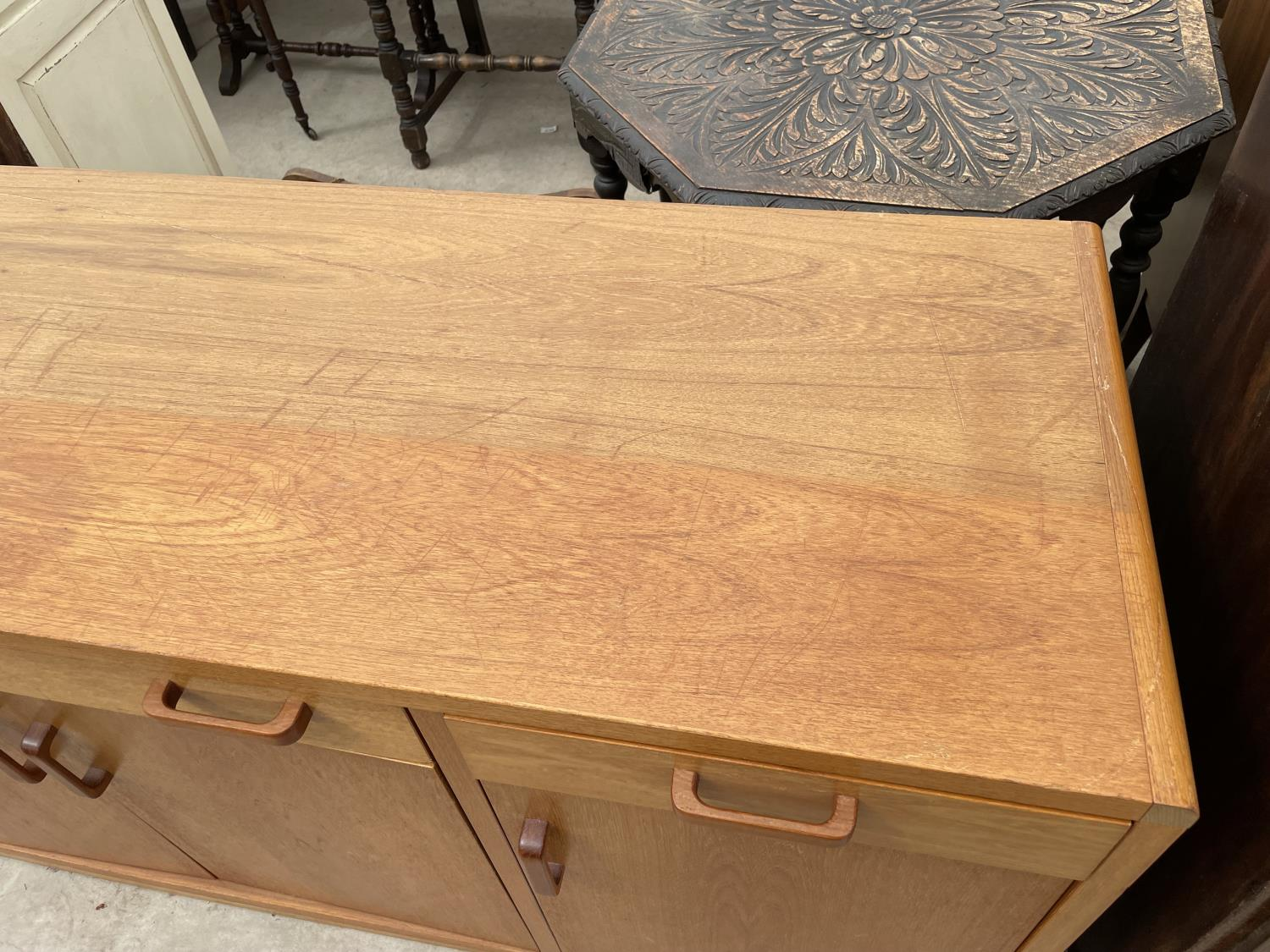 """A RETRO TEAK SIDEBOARD ENCLOSING FOUR CUPBOARDS, THREE DRAWERS, 67"""" WIDE - Image 2 of 5"""