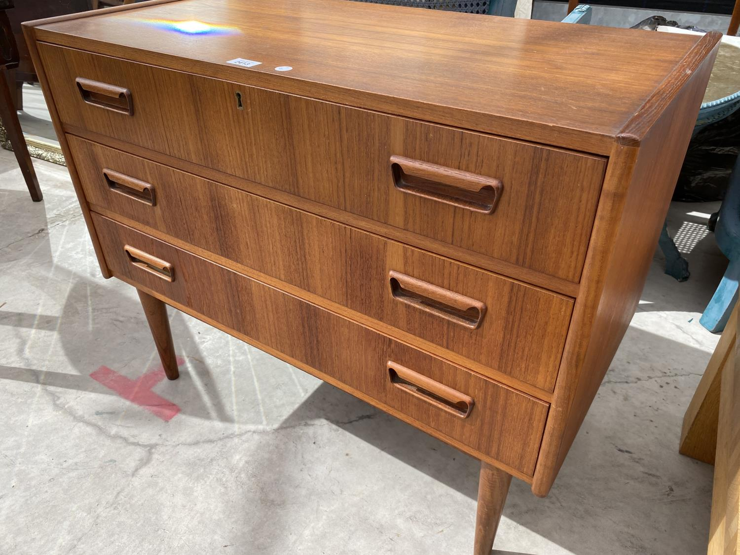 """A RETRO TEAK CHEST OF THREE DRAWERS BEARING STAMP 'MADE IN DENMARK, DESIGNED BY TIBERGAARD', 33.5"""" - Image 3 of 3"""
