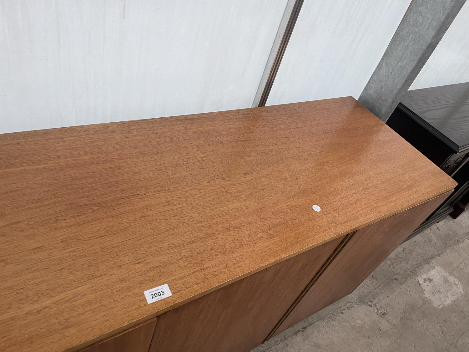 """A RETRO TEAK SIDEBOARD WITH FOUR PUSH RELEASE DOORS, 72"""" WIDE - Image 3 of 8"""