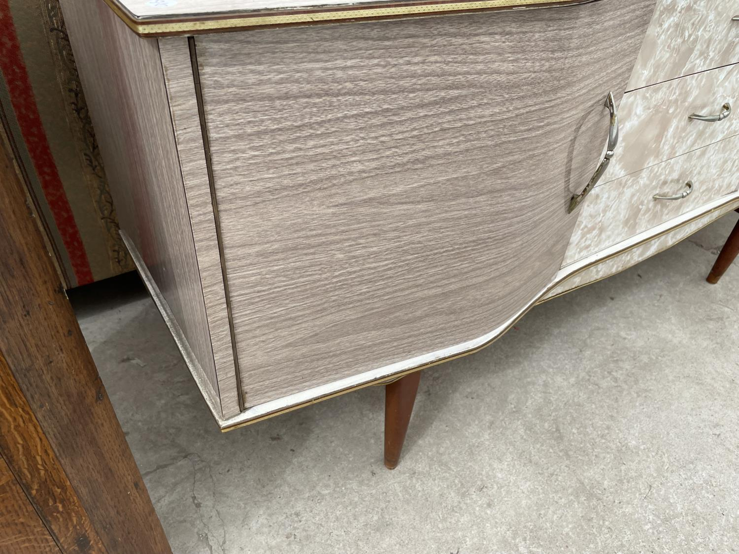 """A MID 20TH CENTURY CREAMY WANUT EFFECT SIDEBOARD, 60"""" WIDE - Image 3 of 5"""