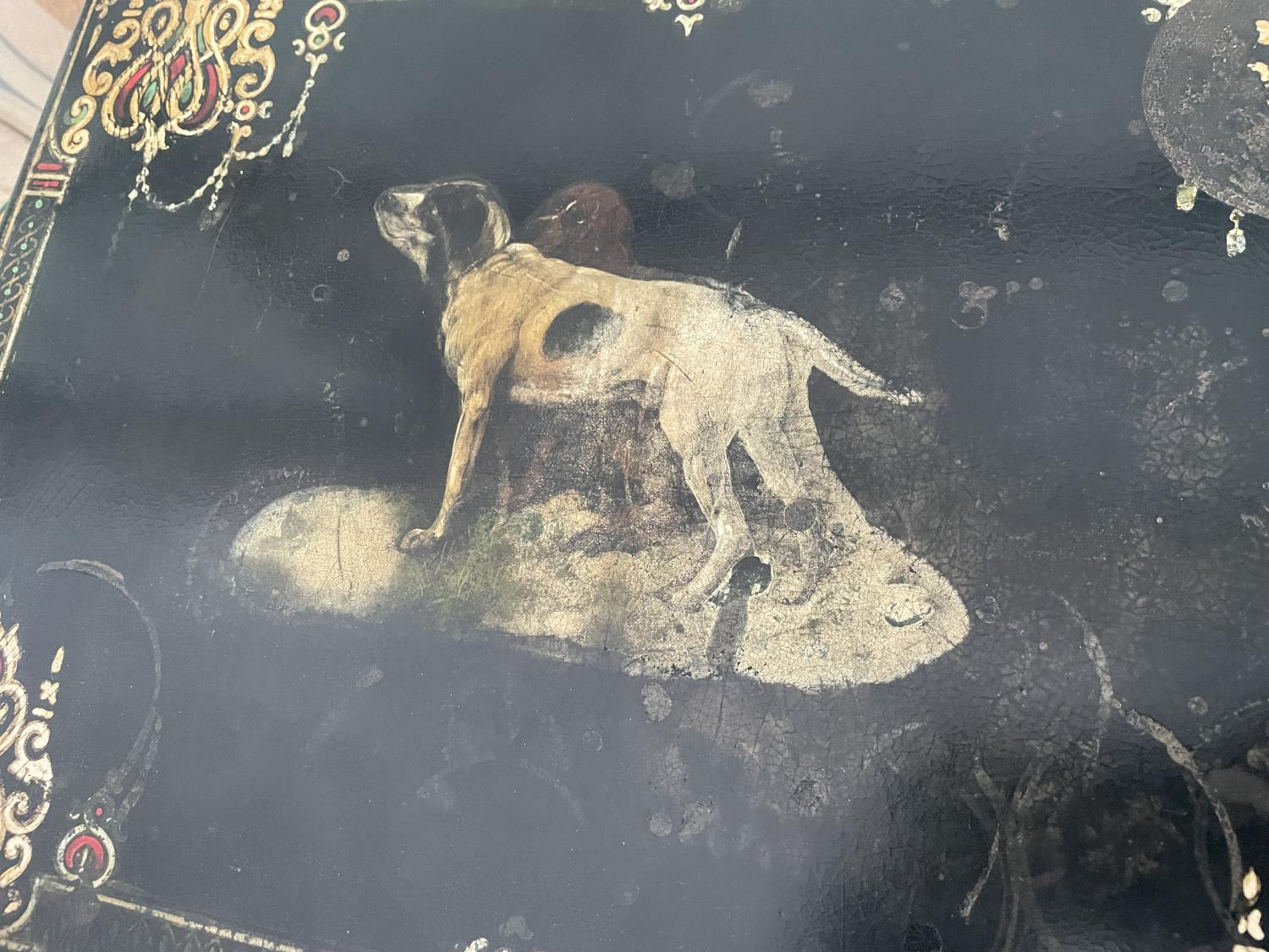 A NEST OF FOUR EBONISED AND PAPIER MACHE TABLES, THREE TABLES BEARING HUNTING IMAGE AND ONE WITH - Image 6 of 9