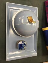 TWO ITEMS OF CARLTON WARE FOR THE DRESSING TABLE PLUS A SILVER PLATED TRINKET BOX WITH BLUE INLAY