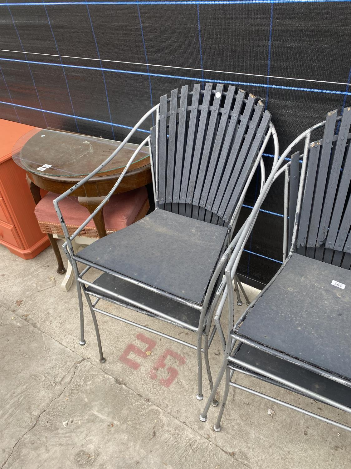 FOUR METAL FRAMED PATIO CHAIRS - Image 3 of 4