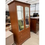 """A MODERN MIRRORED STAG TWO DOOR WARDROBE WITH DRAWERS TO BACK, 40"""" WIDE"""