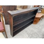 A STAINED PINE PLATE RACK