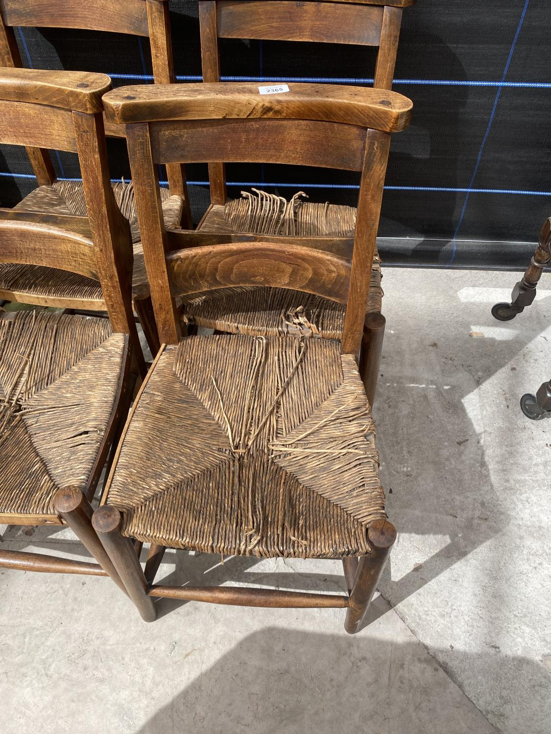 FOUR BEECH FRAMED CHAPEL CHAIRS WITH RUSH SEATS - Image 2 of 5
