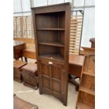 AN OLD CHARM STYLE OAK OPEN CORNER CUPBOARD WITH DOOR TO BASE