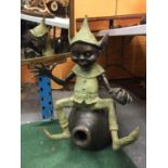 A LARGE BRONZE FIGURE OF A PIXIE