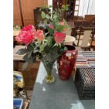 AN ASSORTMENT OF VASES TO INCLUDE ARTIFICIAL FLOWERS