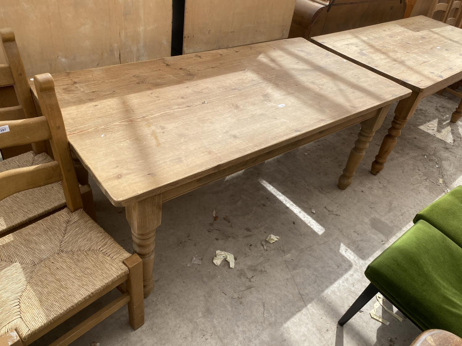"""A VICTORIAN STYLE PINE KITCHEN TABLE ON TURNED LEGS, 72X35.5"""""""