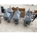 A GROUP OF SIX GOLF RELATED METAL BIRD BOXES