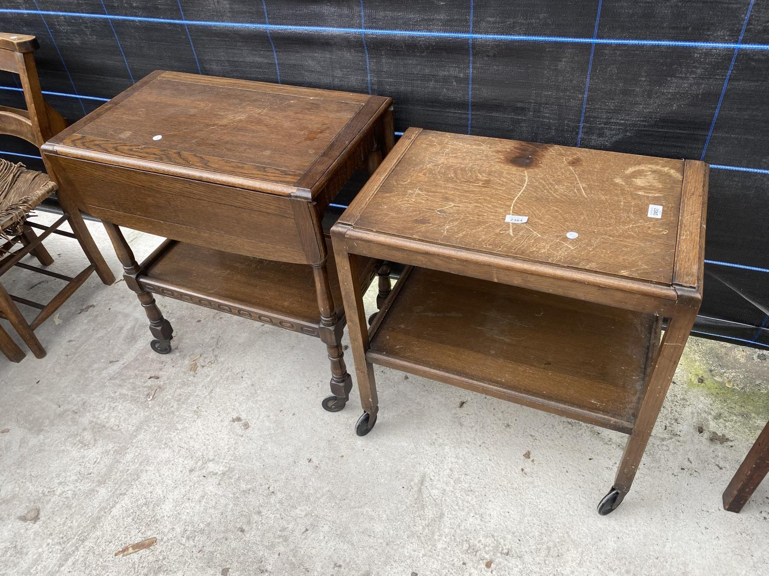 AN OAK 'FLEET FURNITURE' TROLLEY AND ONE OTHER