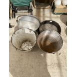 AN ASSORTMENT OF ITEMS TO INCLUDE A JAM PAN, GALVANISED BUCKETS AND A SILT PAN ETC