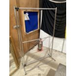 A STAINLESS STEEL TWO TIER CLOTHES RAIL
