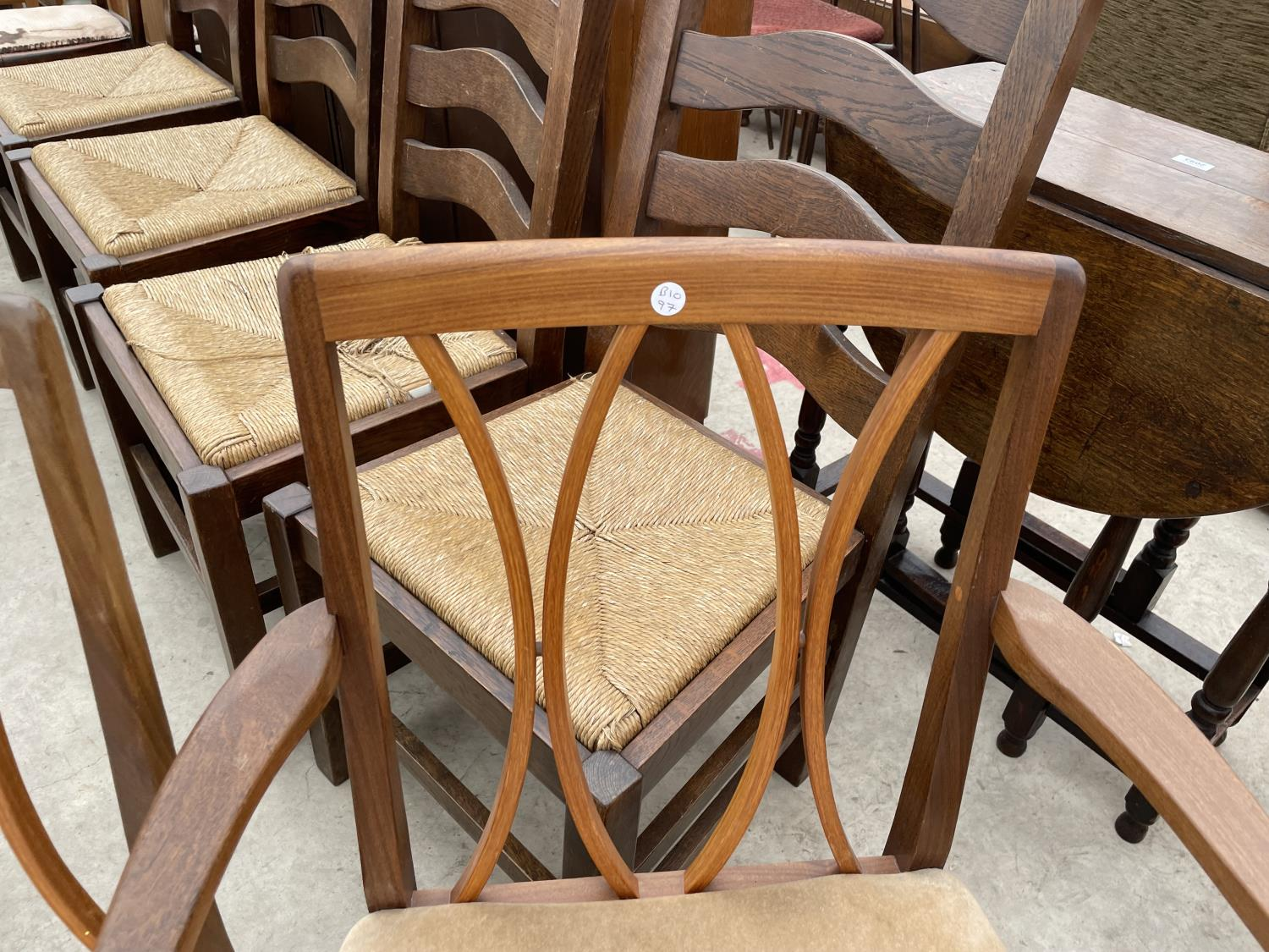 """A RETRO TEAK G-PLAN EXTENDING DINING TABLE, 64X41"""" (EXTRA LEAF 18""""), ON WHALE FIN LEGS, TOGETHER - Image 6 of 10"""