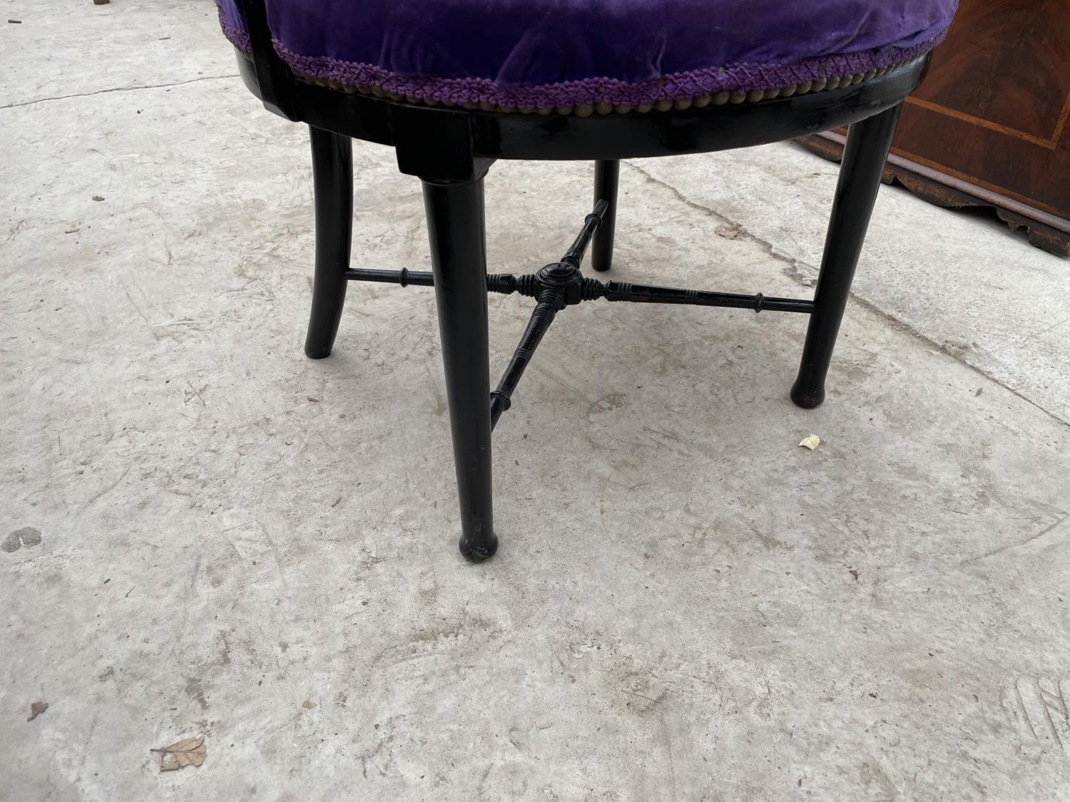 AN ARTS & CRAFTS BLACK PAINTED ELBOW CHAIR A/F - Image 4 of 4