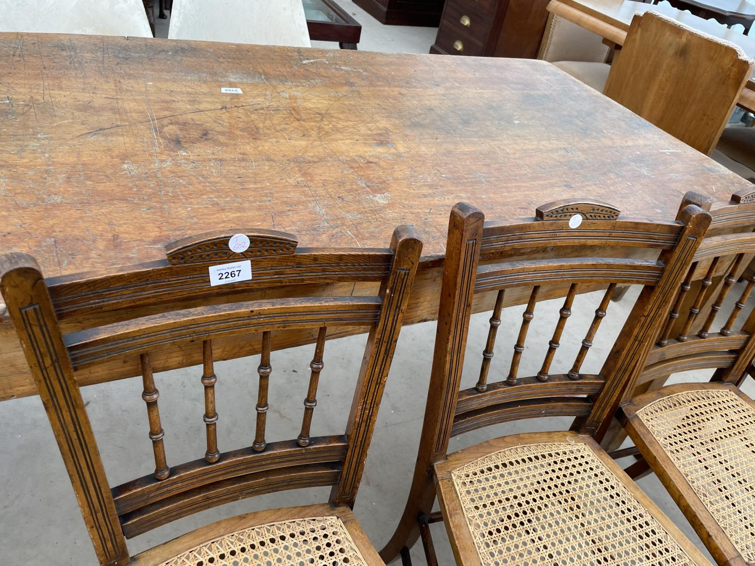 A SET OF FOUR EDWARDIAN BEDROOM CHAIRS WITH CANE SEATS - Image 2 of 5