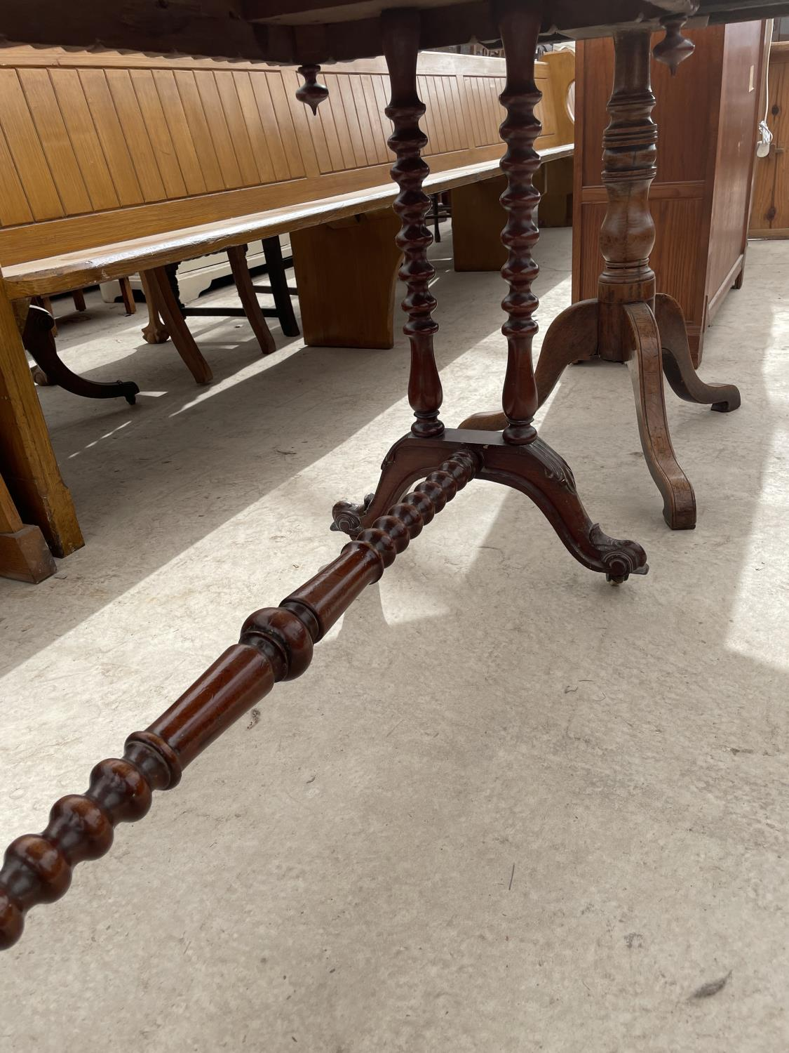 """A VICTORIAN MAHOGANY CENTRE TABLE, 20X42"""", ON TURNED LEGS AND STRETCHER - Image 6 of 6"""