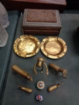 A CARVED TREEN BOX AND VARIOUS BRASSWARE TO INCLUDE ANIMALS, , PILL BOXES ETC
