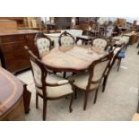 AN ITALIAN STYLE DINING TABLE AND SIX BUTTON-BACK CHAIRS, TWO BEING CARVER