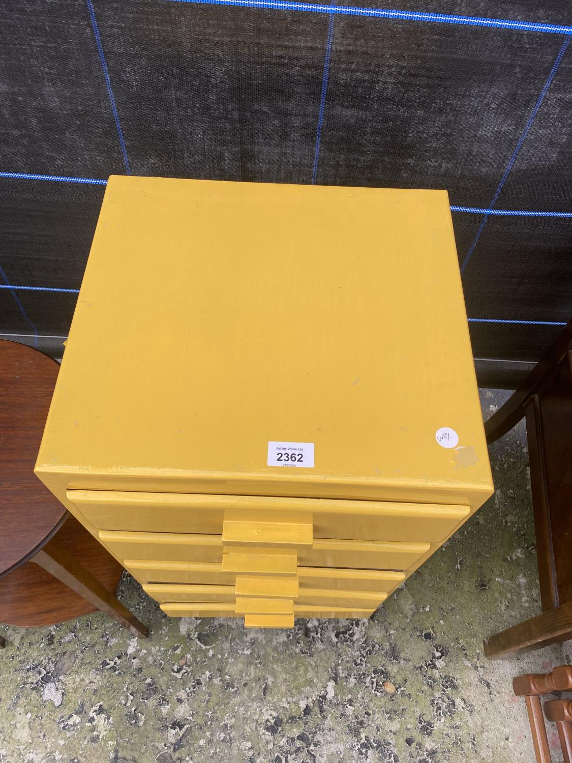 A YELLOW PAINTED CHEST OF FIVE DRAWERS AND AN EDWARDIAN TWO TIER OCCASIONAL TABLE - Image 3 of 4
