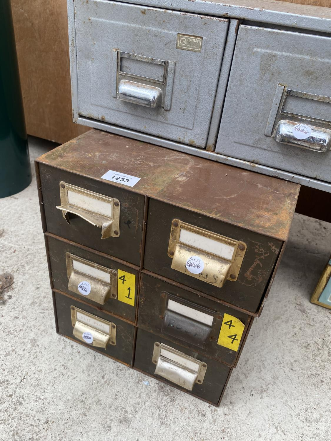 A GROUP OF THREE MATCHING TWO DRAWER CABINETS AND A FURTHER TWO DRAWER UNIT - Image 3 of 4