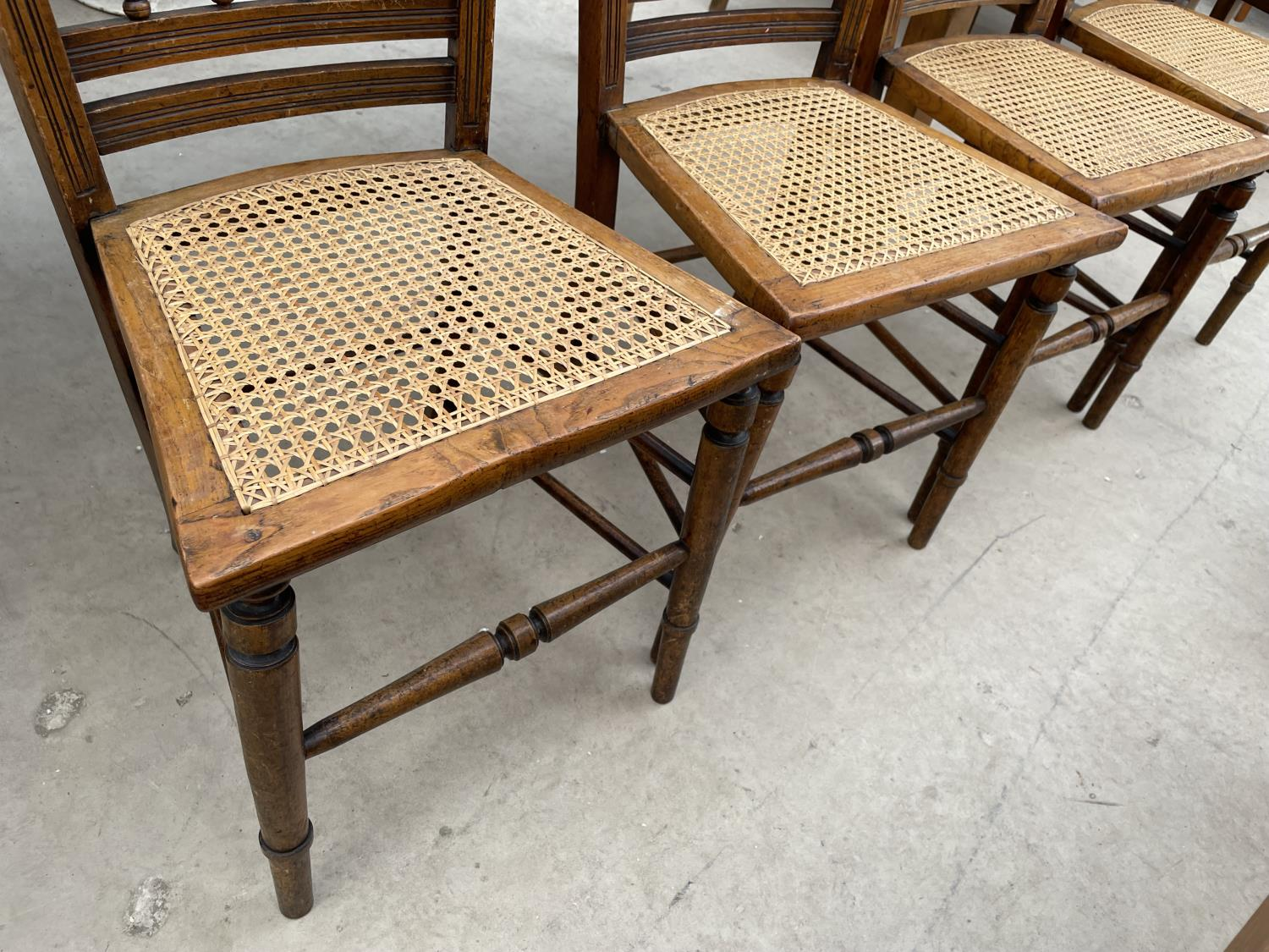 A SET OF FOUR EDWARDIAN BEDROOM CHAIRS WITH CANE SEATS - Image 3 of 5