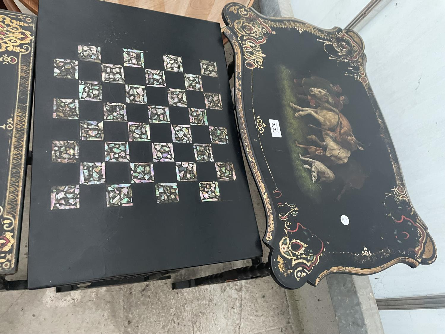 A NEST OF FOUR EBONISED AND PAPIER MACHE TABLES, THREE TABLES BEARING HUNTING IMAGE AND ONE WITH - Image 3 of 9