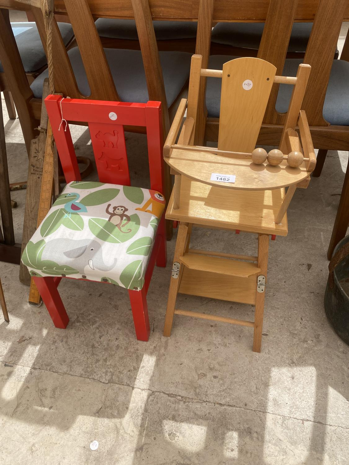 A SMALL DOLLS HIGH CHAIR AND A FURTHER CHILDRENS CHAIR
