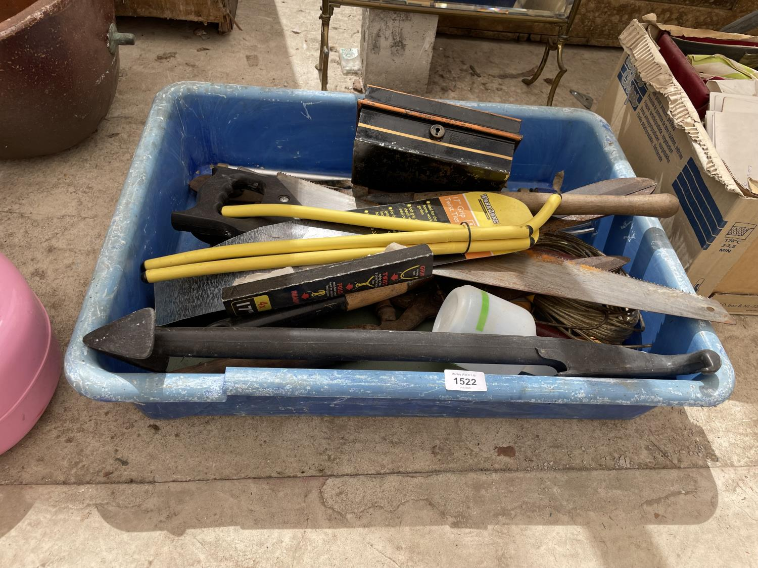 AN ASSORTMENT OF TOOLS TO INCLUDE SAWS, SHEARS AND LANCES ETC