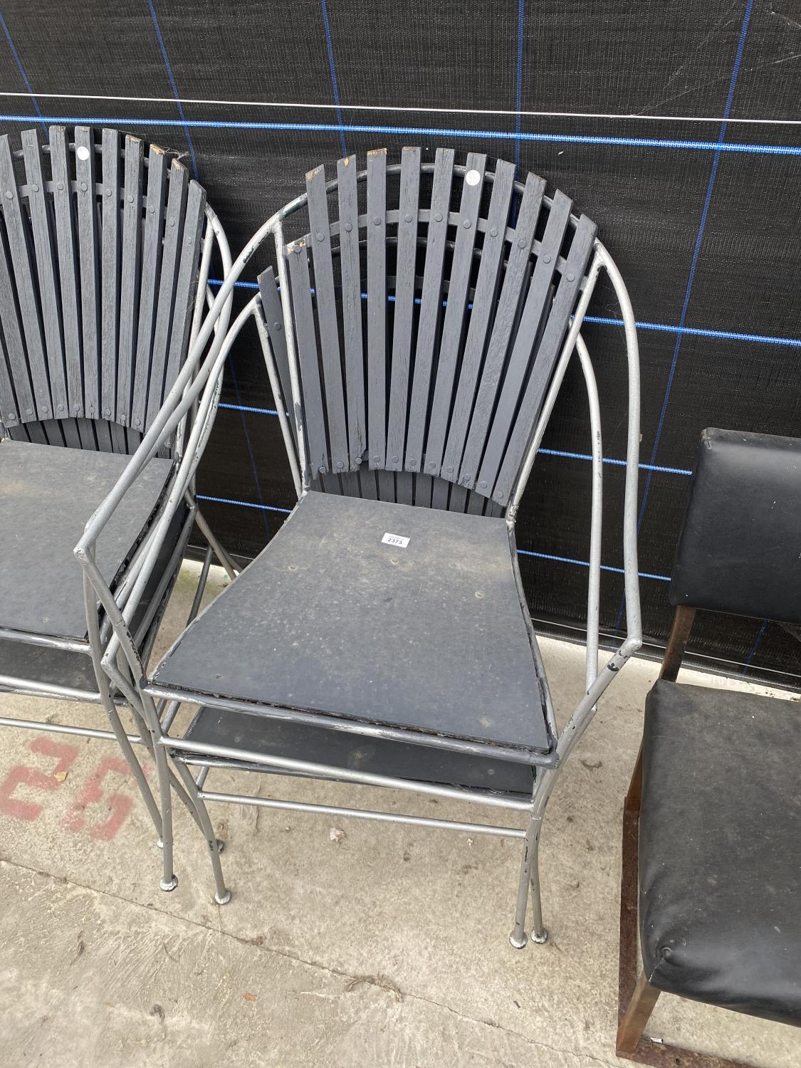 FOUR METAL FRAMED PATIO CHAIRS - Image 2 of 4
