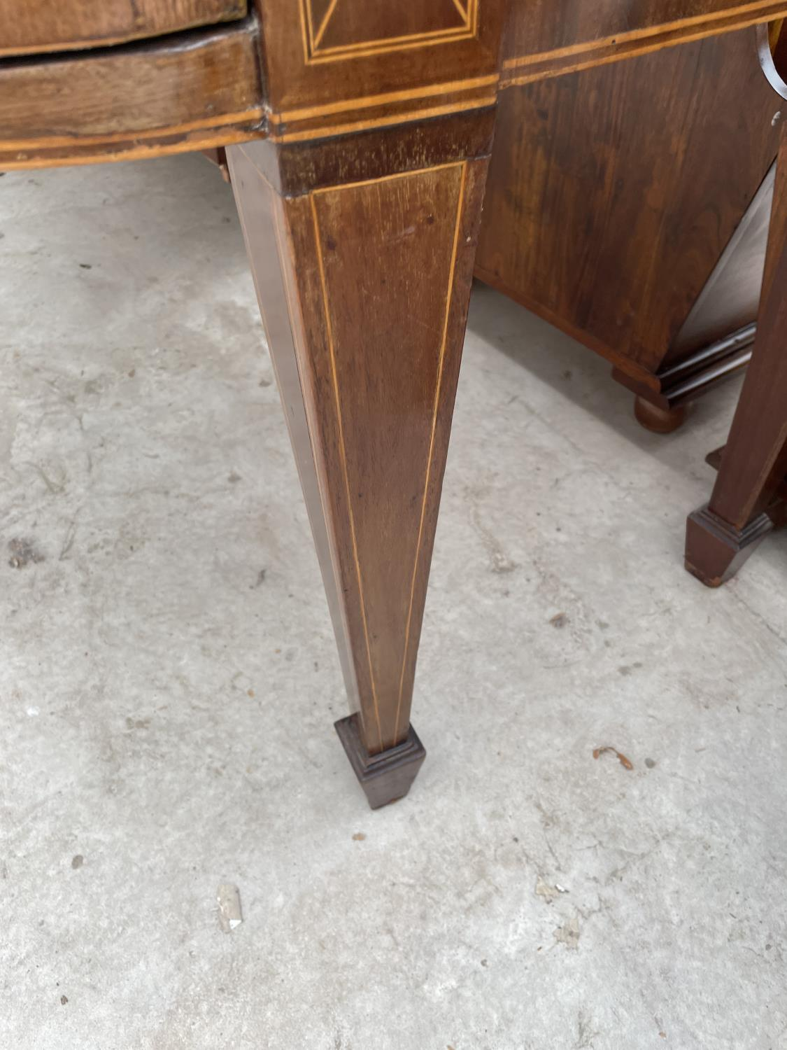 """A 19TH CENTURY MAHOGANY BOWFRONTED SIDEBOARD ON TAPERED LEGS, WITH SPADE FEET, 78"""" - Image 10 of 10"""