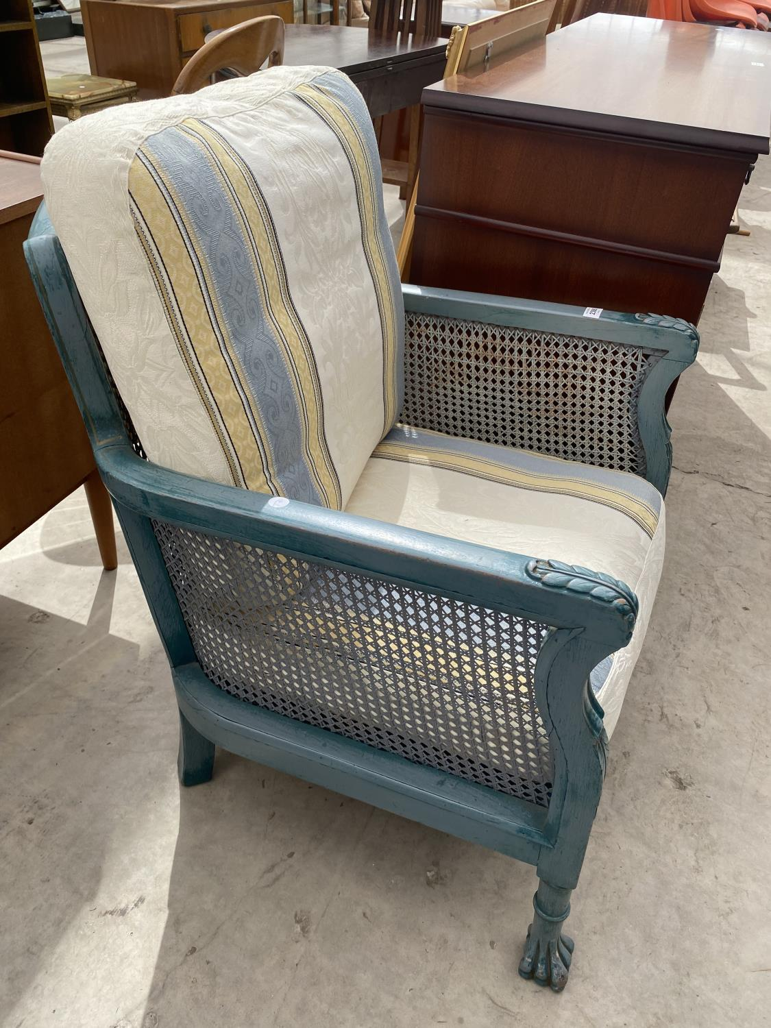 A PAIR OF EARLY 20TH CENTURY BERGERE FIRESIDE CHAIRS ON CLAW FEET, HAVING SHABBY CHIC PAINTING, - Image 3 of 6