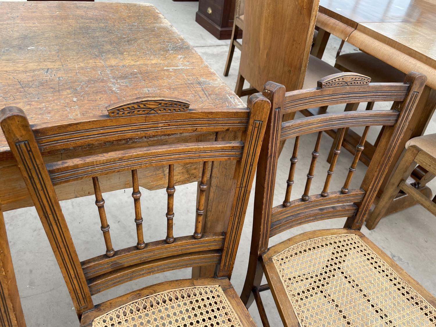 A SET OF FOUR EDWARDIAN BEDROOM CHAIRS WITH CANE SEATS - Image 4 of 5