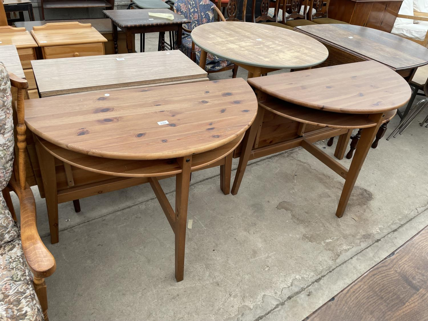 TWO PINE DROP LEAF TABLES