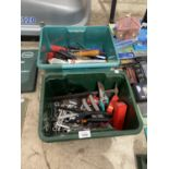 AN ASSORTMENT OF HAND TOOLS TO INCLUDE SPANNERS, A G CLAMP AND SCREW DRIVERS ETC