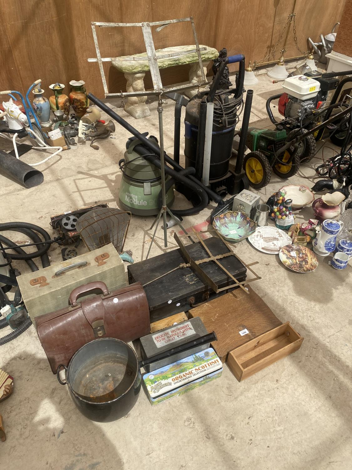 AN ASSORTMENT OF ITEMS TO INCLUDE A LARGE PAN, TRAVEL CASES AND TREEN CHESTS ETC