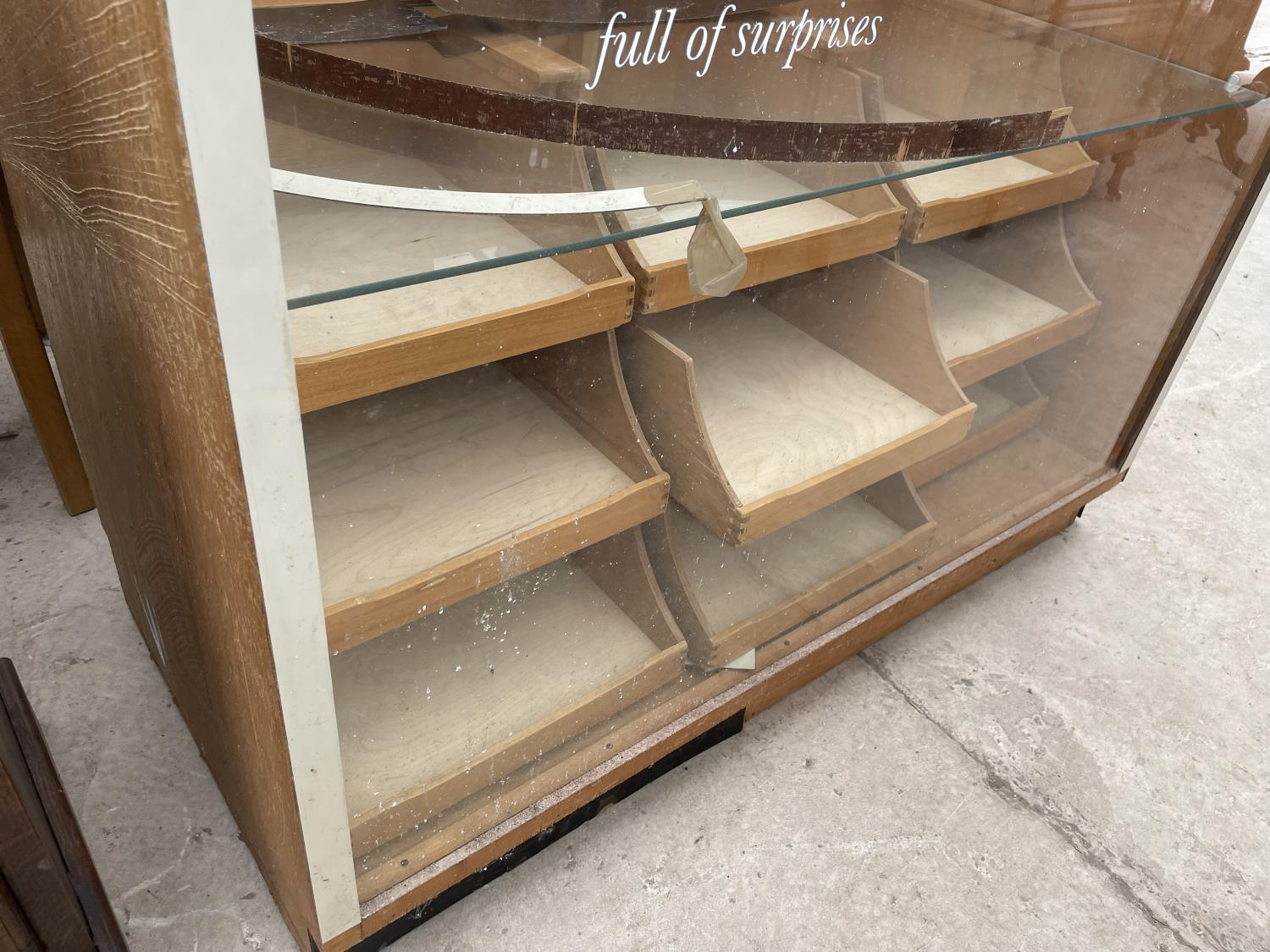 """A 1970'S HABERDASHERS CABINET WITH NINE DRAWERS AND TWO DROP-DOWN DOORS, 46.5"""" WIDE - Image 3 of 5"""