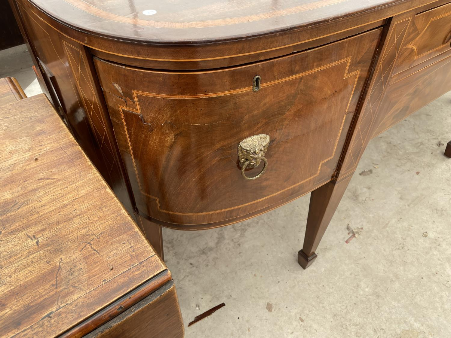 """A 19TH CENTURY MAHOGANY BOWFRONTED SIDEBOARD ON TAPERED LEGS, WITH SPADE FEET, 78"""" - Image 4 of 10"""