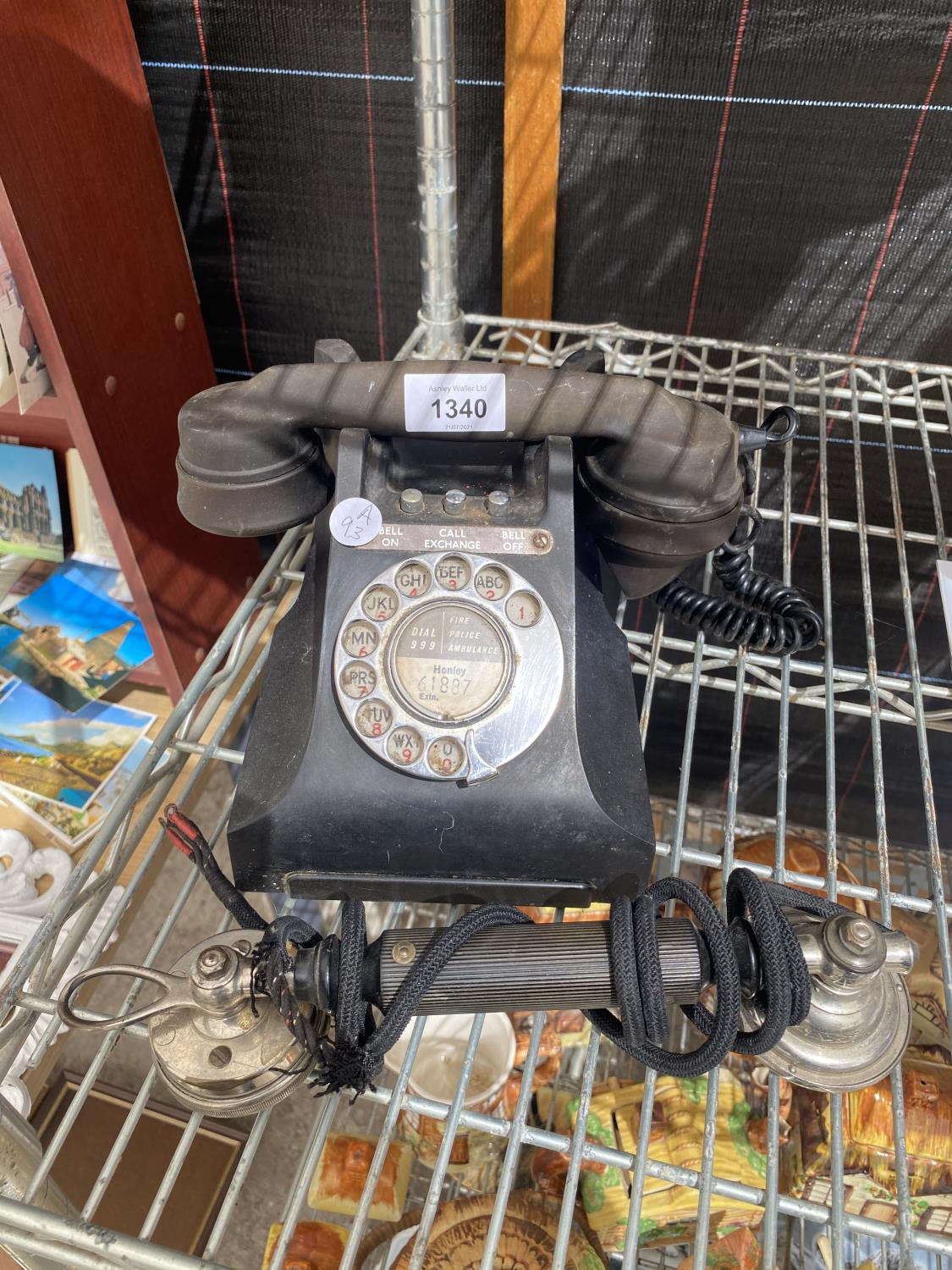 A VINTAGE TELEPHONE AND A FURTHER TELPHONE RECIEVER