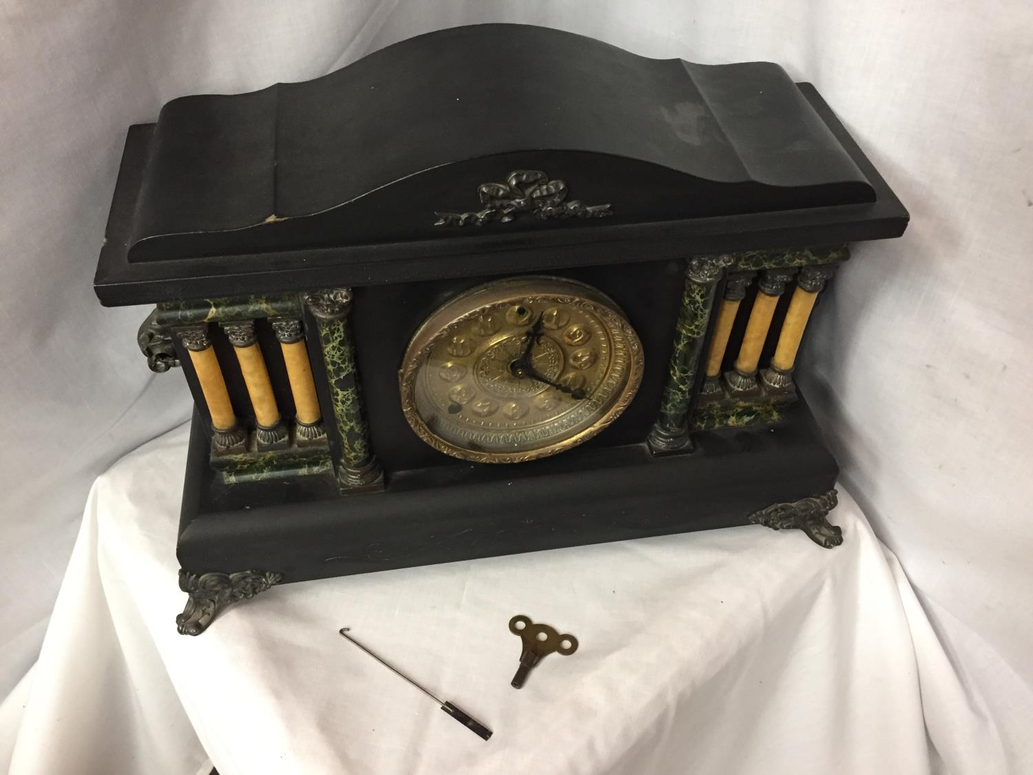 A VICTORIAN EIGHT DAY CATHEDRAL GONG EBONISED MANTEL CLOCK BY THE SESSIONS CLOCK CO. - Image 2 of 6