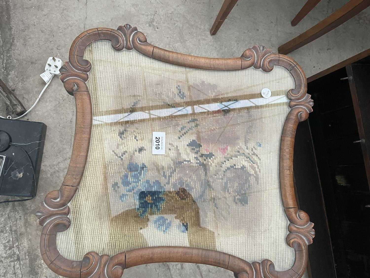 """A VICTORIAN WALNUT TAPESTRY POLE SCREEN, 18X17"""" (CONVERTED TO OCCASIONAL TABLE) - Image 2 of 4"""